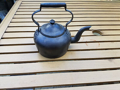 Antique Gate Mark Cast Iron 2 Tea Kettle Pot Makers Mark L Diamond HTF Rare Lid