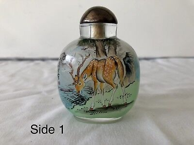 Chinese Snuff Bottle Reverse Painted Glass- Chinese Script Artist Seal Deer