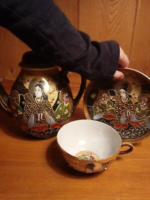 Vintage Embossed Japanese Tea Set Pieces Tea cup and saucer set