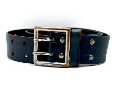 Vintage Leather Belt with Double Pin Buckle Blue Size 32