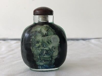 Chinese Snuff Bottle Reverse Painted Glass Chinese Script Artist Seal Mountain