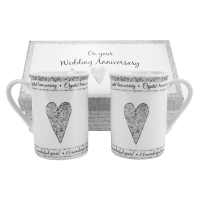 15th Crystal Wedding Anniversary Gift Set Ceramic Mugs by Happy Homewares