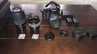 Sony Alpha SLT-A77 24.3MP SLR Camera, 1911 exp. With 3 Lenses + accessories