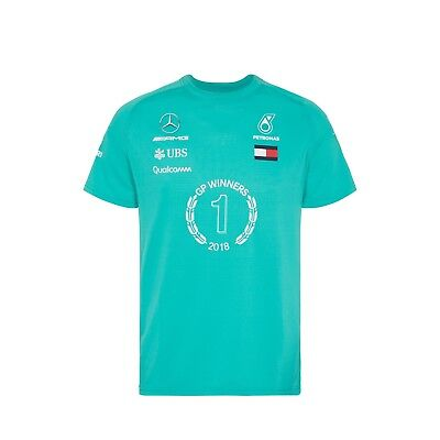 2018 Mercedes AMG F1 Team Race WINNER T Shirt Tee Green MENS Hamilton OFFICIAL