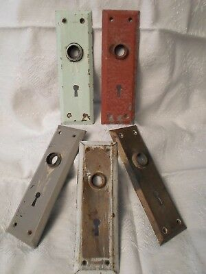 "ANTIQUE/VINTAGE LOT x 5 DOOR KNOB LOCK BACK PLATE 7"" x 2 1/4"" METAL SKELETON KEY"