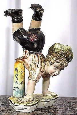 "ANTIQUE 1800's ITALY PORCELAIN HANDPAINTED BOY BOB FIGURINE 12.5"" EXTREMELY RARE"