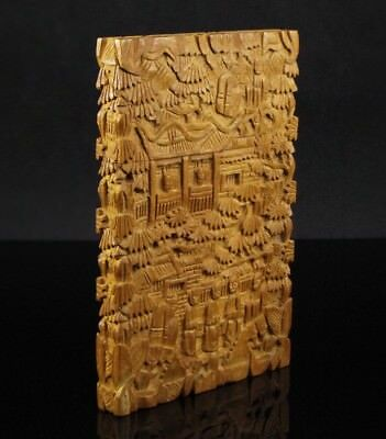 Antique 19th Century Chinese Sandalwood Card Holder with intricate carvings