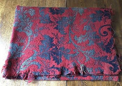 Antique Primitive Early Woven Fabric Red Blue Leaf Pattern Heavy Wool