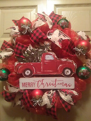 red truck christmas wreathdoor decorvintageglass bulbsdeco mesh