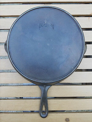 Vtg Griswold Puritan # No 10 Cast Iron Skillet Pan Heat Ring HTF Antique Rare