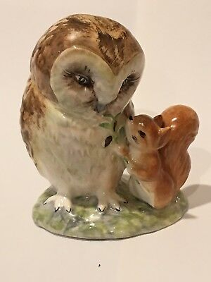 Beatrix Potter Figurines Old Mr. Brown Owl Gold lettering Beswick England
