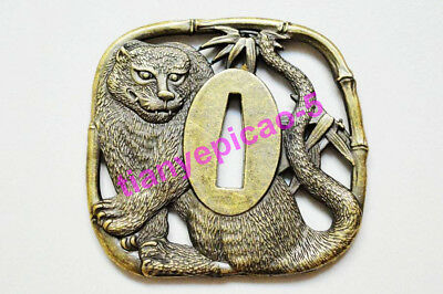 Fine Tiger Tsuba Guard For Japanese Samurai Sword Wakizashi Katana Alloy Fitting