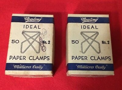 Lot of (2) VTG No. 2 Paper Clamps Fasteners Noesting Ideal Box of 50 Clips USA