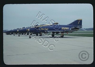 35mm Generic Aircraft Slide - F-4J Phantom BuNo 153075 BLUE ANGELS #1 @ Pax 1969