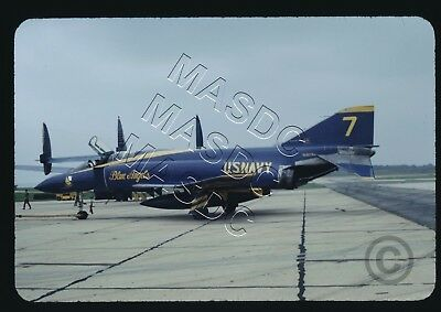 35mm Generic Aircraft Slide - F-4J Phantom BuNo 153079 BLUE ANGELS #7 @ Pax 1969
