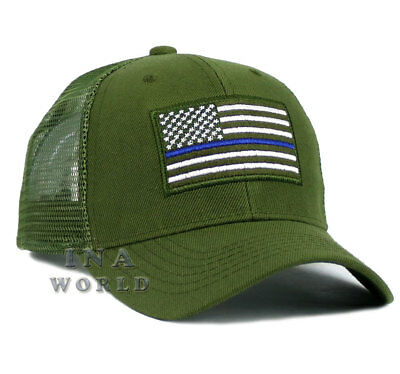 USA Flag hat POLICE THIN BLUE LINE SUPPORT LAW ENFORCEMENT Mesh Snapback-  Olive 70df9cc4578