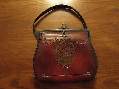 Antique Art Nouveau Deco Hand Tool Butterfly Leather Purse from 1900s?