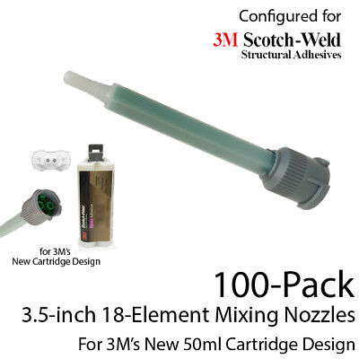 Mixing Nozzles 100-Pack-fits 3M EPX 50ml Cartridges (Shorter 3.5in, 1:1 & 2:1)