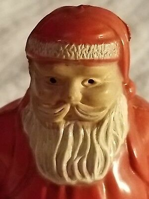 Vintage Christmas Decoration Irwin Celluloid Santa on Metal Skis