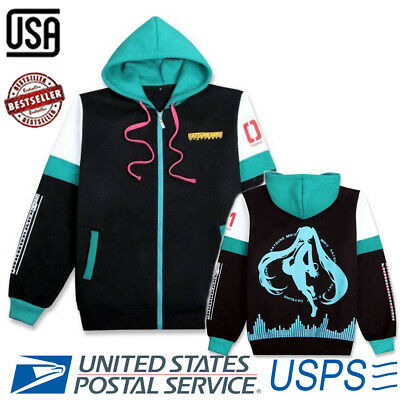 Halloween Hatsune Miku Costume Unisex Cosplay Zipped Jacket Hoodie Sweater Coat