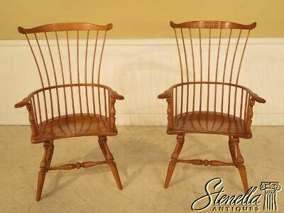 28594E: Pair Of Hand Crafted High Back Windsor Fan Back Chairs