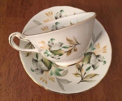Royal Chelsea Tea Cup and Saucer Bone China 4439 Green Grey Gold Floral England