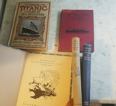 Titanic book lot of 5 books plus Titanic fragment
