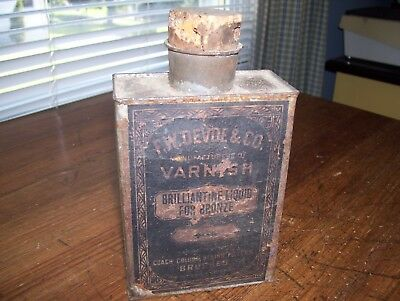 Rare! Antique F.W. Devoe Mid 1800's Can Original Paper Lable.. Look!