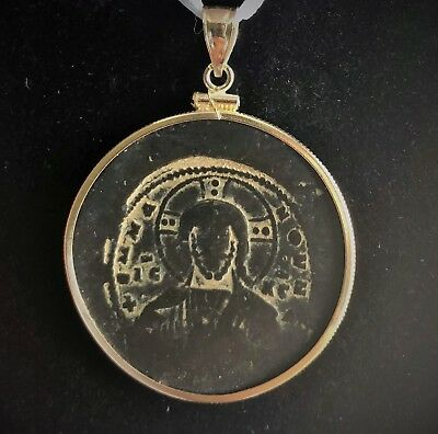 10th-century Byzantine Christ coin 14k gold bezel pendant (CUSTOM ORDER)