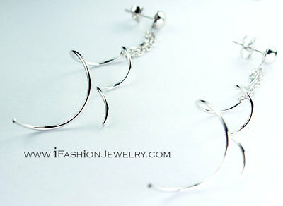 Silver Chain Geometric Long Twist Spiral Line Drop Earrings Big Metallic Jewelry