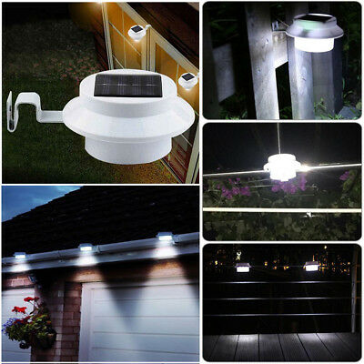 1pc 3LED Solar Powered Gutter Light Outdoor Garden Yard Wall Fence Pathway Lamp