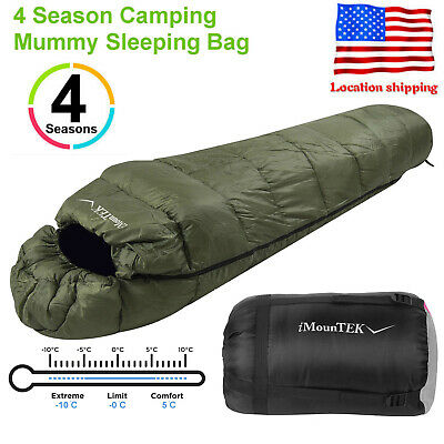 Olive Green Mummy Sleeping Bag Warmly -5-10 ℃ 4 Season Outdoor Camping Hiking US