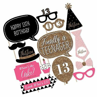 Photo Booth Props Party Girl Mini Hot Pink Happy Birthday Party Props x 5PC