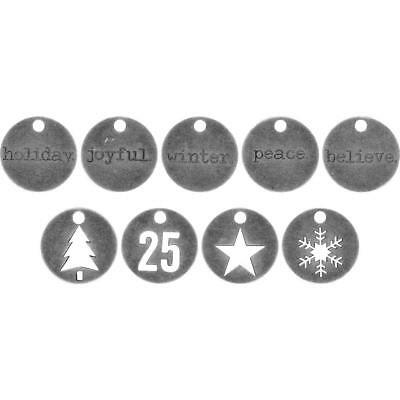 Tim Holtz Idea-Ology ~ METAL TYPED TOKENS ~ Christmas Noel TH93750 ~ Pack of 18
