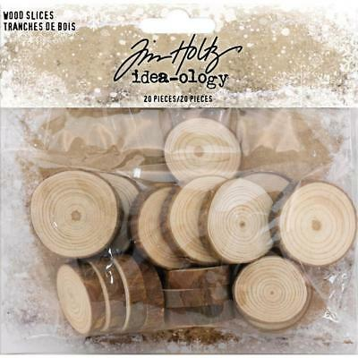 Idea-Ology Tim Holtz ~ CHRISTMAS Wood Slices ~ 20 in pack