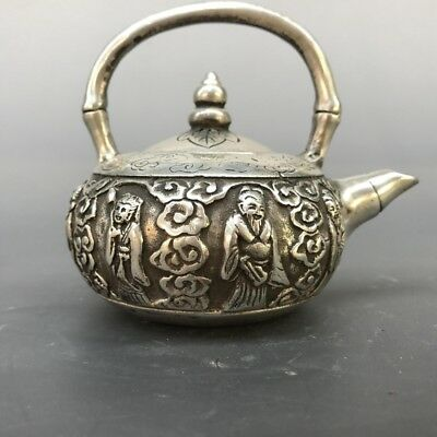 China Collection Tibetan Silver Copper Carving Retro Pattern Teapot