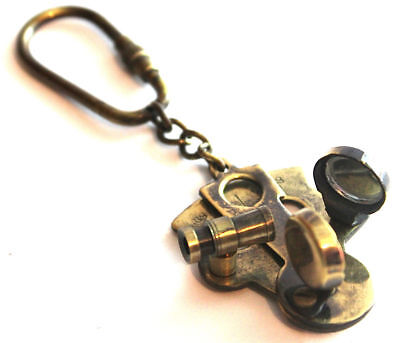 Solid Brass Nautical Steampunk Antique Solid Brass Sextant Key Chain Keyring