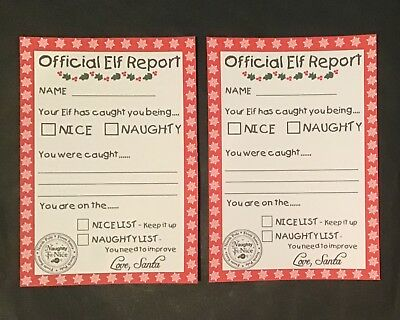 Handmade Christmas Accessories /Report Card Compatable with Elf on the Shelf