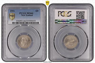 1951 New Zealand Sixpence 6D PCGS GRADED - MS66 - #455