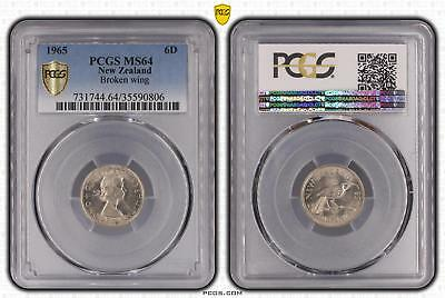 1965 New Zealand Sixpence 6D Broken wing PCGS GRADED - MS64 - #806