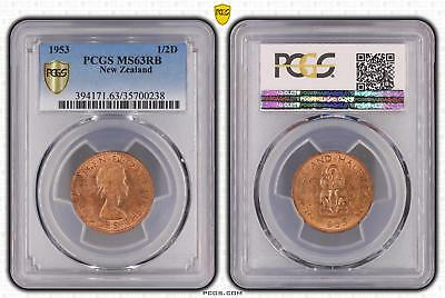 1953 New Zealand 1/2D PCGS GRADED - MS63RB - #238