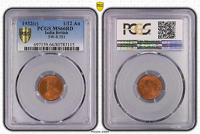 1932c India British 1/12 An PCGS GRADED - MS66RD - #115