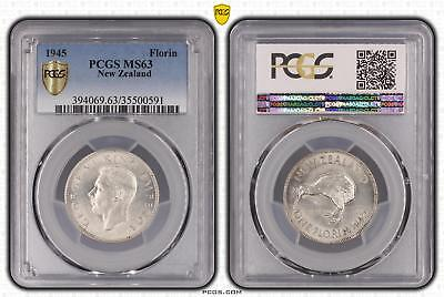 1945 New Zealand Florin 2/- PCGS GRADED - MS63 - #591