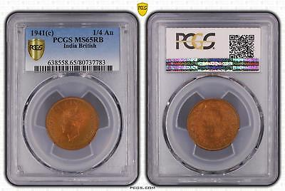 1941c India British 1/4 An PCGS GRADED - MS65RB - #783