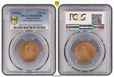 1935c India British 1/4 An PCGS GRADED - MS66RB - #512