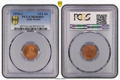 1933c India British 1/12 An PCGS GRADED - MS66RD - #274