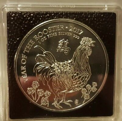 """2017 Lunar Year Of The """"rooster"""" Royal Mint Bullion Silver £2 Coin With Quadrum"""