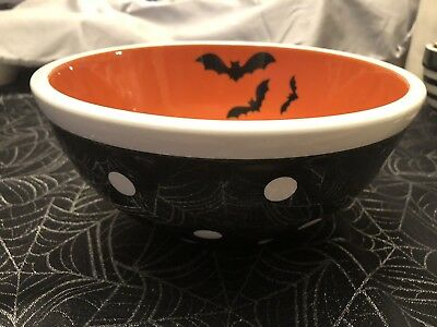 2018 Terramoto pottery Ceramic Halloween Trick Or Treat Bowl Candy Dish Bats Dot