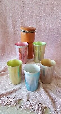 Vintage Anodised Aluminium Retro Picnic Cups Set of 5 in Case. Preloved cond.