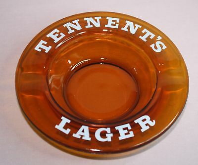 Tennent's  Lager Beer  Ashtray Amber Glass -